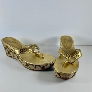 Classic Coach wedge gold thong slip on